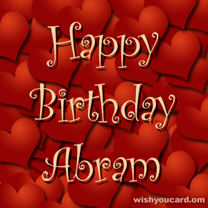 happy birthday Abram hearts card
