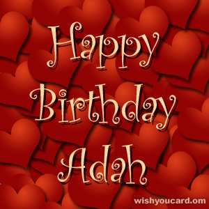 happy birthday Adah hearts card
