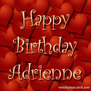happy birthday Adrienne hearts card