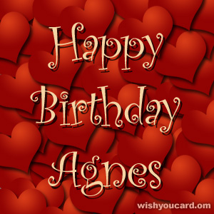 happy birthday Agnes hearts card