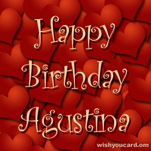 happy birthday Agustina hearts card