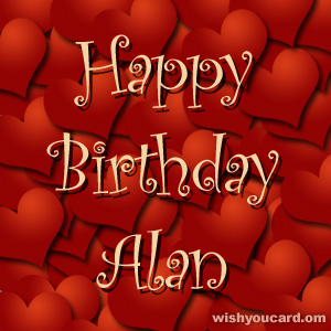 happy birthday Alan hearts card