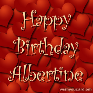 happy birthday Albertine hearts card