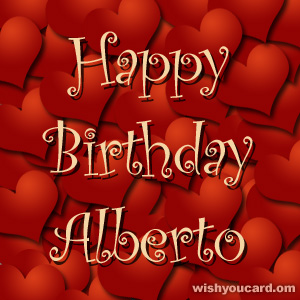 happy birthday Alberto hearts card