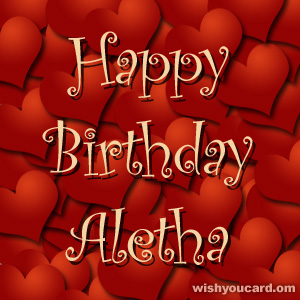 happy birthday Aletha hearts card