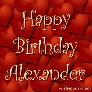 happy birthday Alexander hearts card
