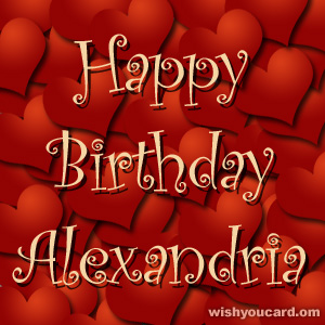 happy birthday Alexandria hearts card
