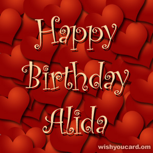 happy birthday Alida hearts card