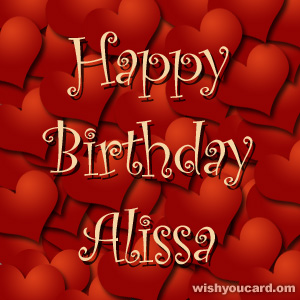 happy birthday Alissa hearts card