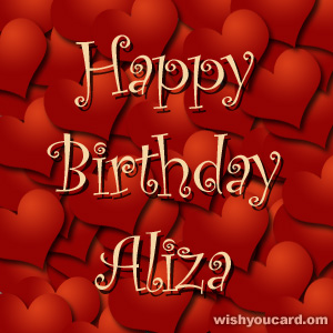 happy birthday Aliza hearts card