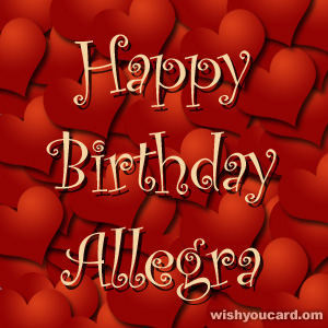 happy birthday Allegra hearts card