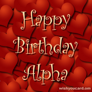 happy birthday Alpha hearts card