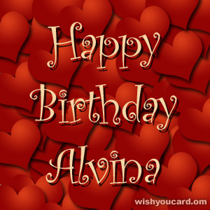 happy birthday Alvina hearts card