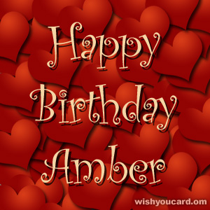 happy birthday Amber hearts card