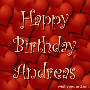 happy birthday Andreas hearts card