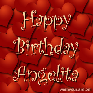 happy birthday Angelita hearts card