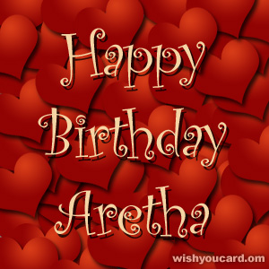 happy birthday Aretha hearts card