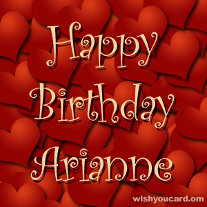 happy birthday Arianne hearts card