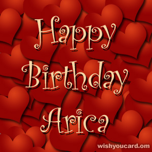 happy birthday Arica hearts card