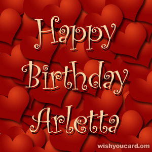 happy birthday Arletta hearts card