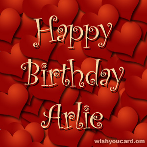 happy birthday Arlie hearts card