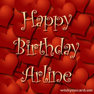 happy birthday Arline hearts card