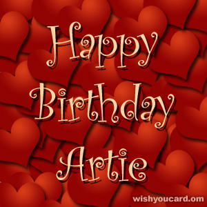happy birthday Artie hearts card