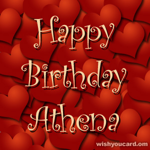 happy birthday Athena hearts card