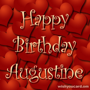 happy birthday Augustine hearts card