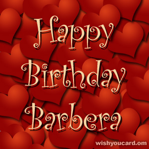 happy birthday Barbera hearts card