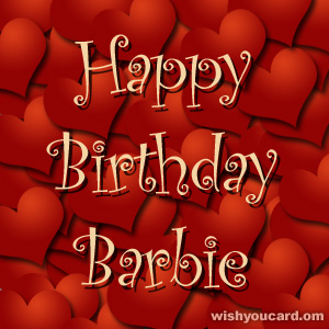 happy birthday Barbie hearts card