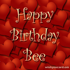 happy birthday Bee hearts card