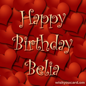 happy birthday Belia hearts card