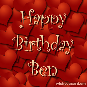 happy birthday Ben hearts card