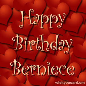 happy birthday Berniece hearts card