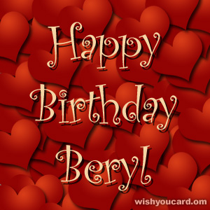 happy birthday Beryl hearts card