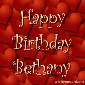 happy birthday Bethany hearts card
