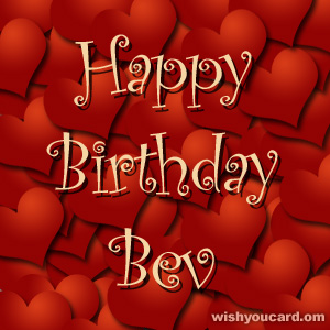 happy birthday Bev hearts card