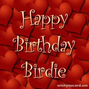 happy birthday Birdie hearts card