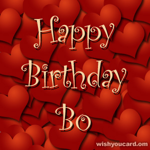 happy birthday Bo hearts card