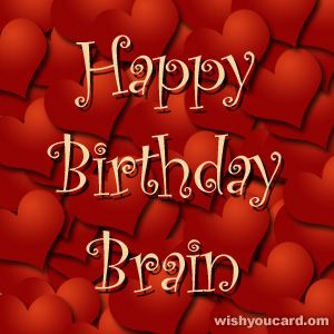 happy birthday Brain hearts card