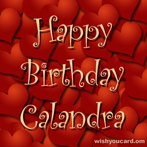 happy birthday Calandra hearts card