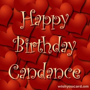 happy birthday Candance hearts card