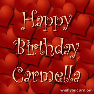 happy birthday Carmella hearts card