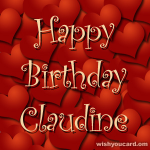 happy birthday Claudine hearts card