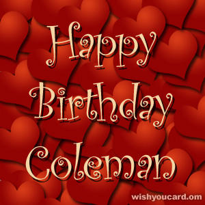 happy birthday Coleman hearts card