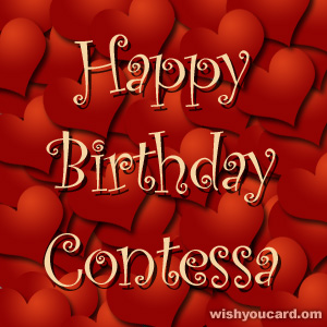happy birthday Contessa hearts card