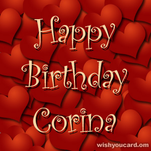happy birthday Corina hearts card