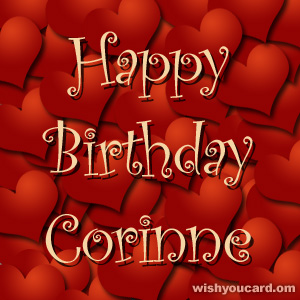 happy birthday Corinne hearts card