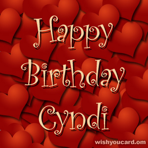 happy birthday Cyndi hearts card